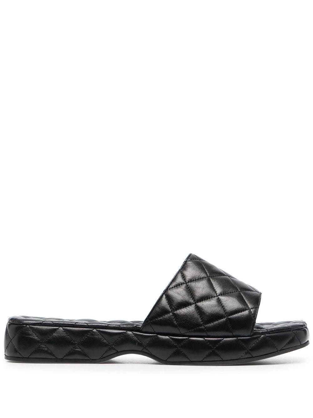 BY FAR Quilted Leather Black Lilo Mules