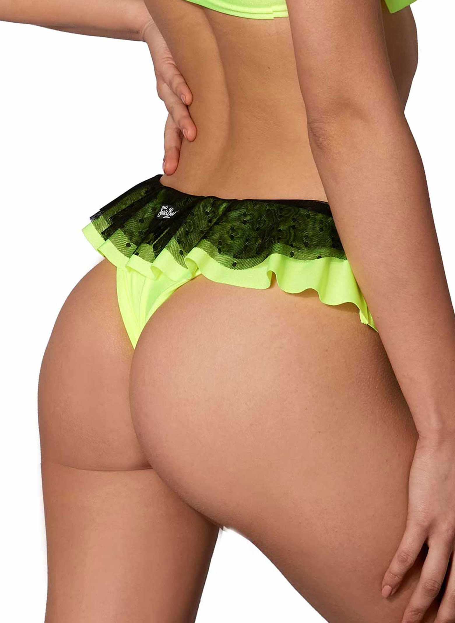 MC2 Saint Barth Yellow Fluo And Tulle Brazilian Briefs With Ruffle