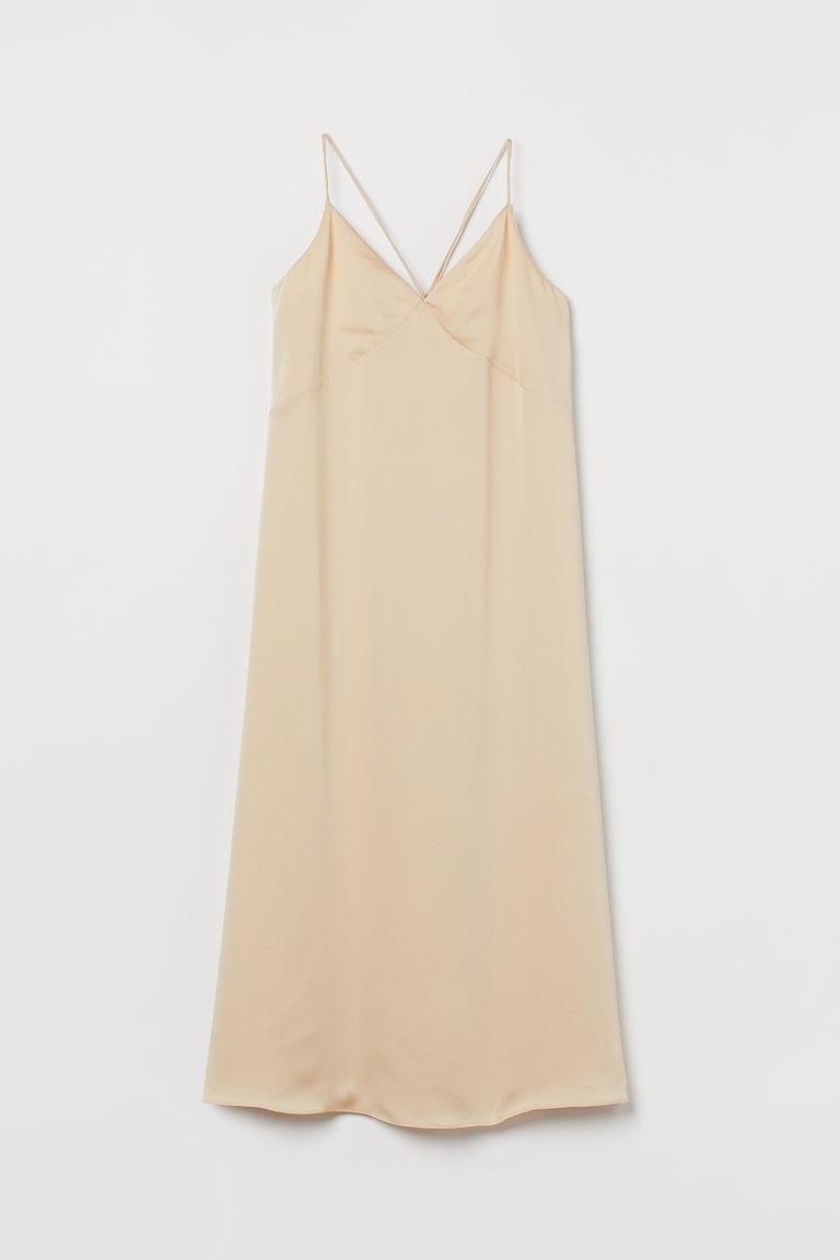 H & M - V領綢緞洋裝 - 米黃色