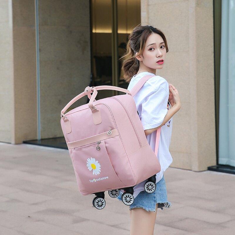 拉桿旅行袋 旅行包大容量短期出差網紅小野菊時尚行李包靜音萬向輪拉桿包【HZL1539】