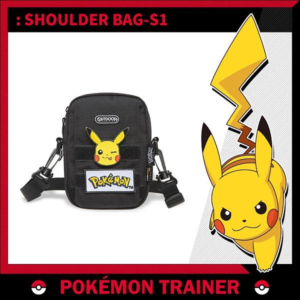 【OUTDOOR】Pokemon聯名款訓練家系列 掀蓋側背包-黑色 ODGO20C03BK