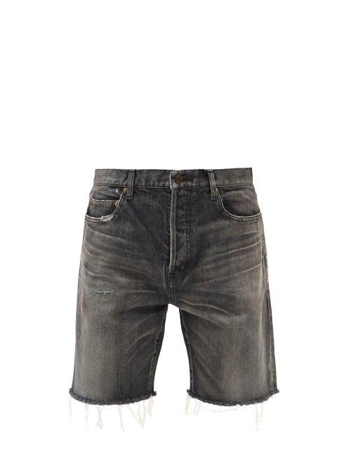 Saint Laurent - Distressed Straight-leg Denim Shorts - Mens - Grey