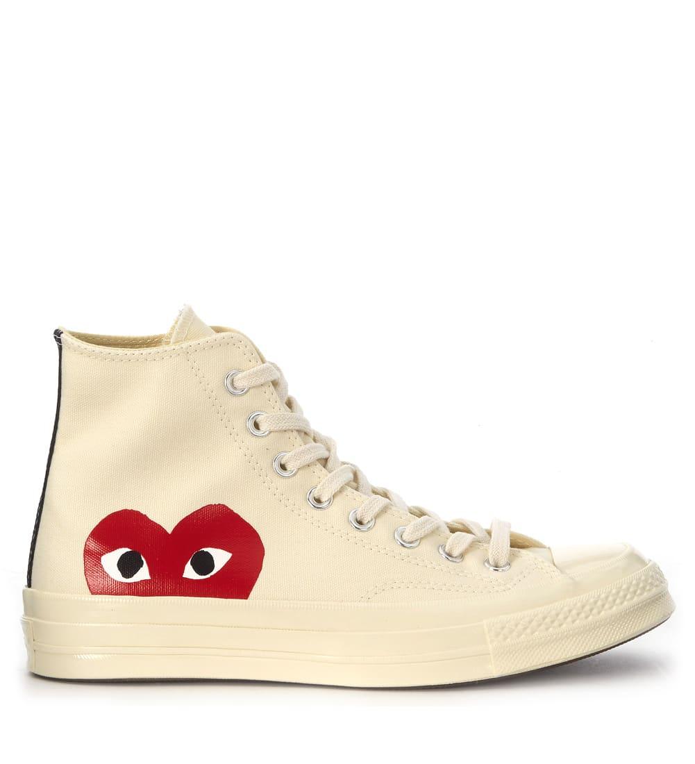 Comme Des Garçons Play X Converse High Beige Canvas Sneaker