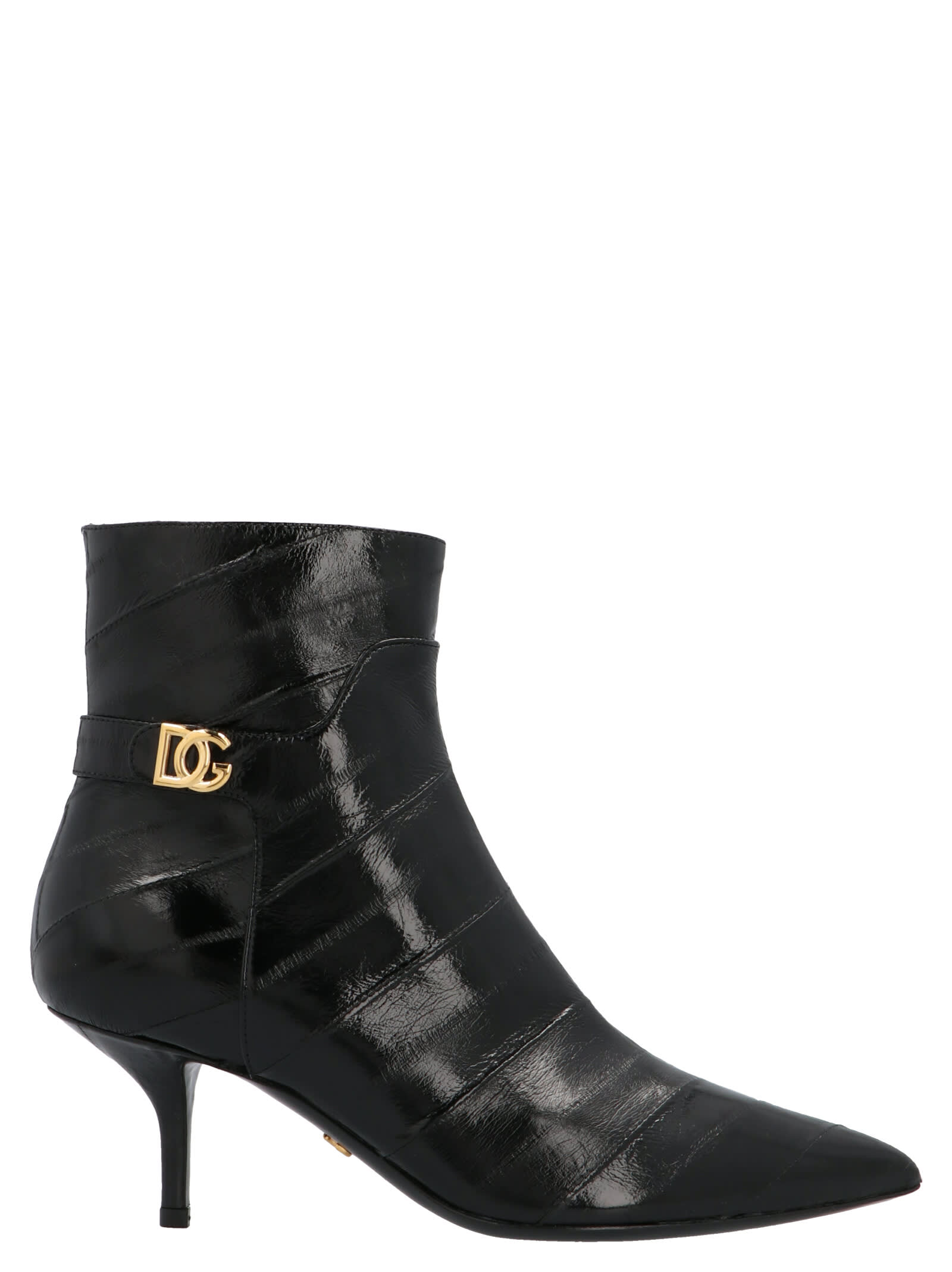 Dolce & Gabbana Point-toe Leather Ankle Boots