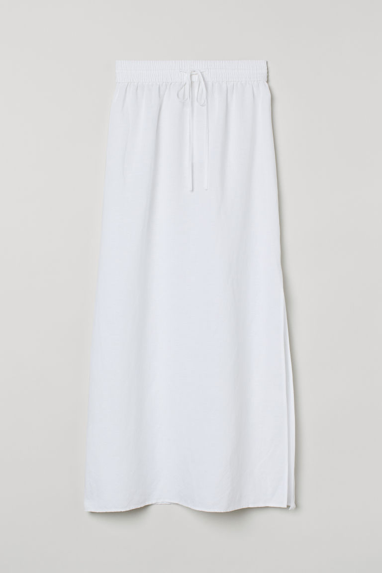 H & M - 亞麻混紡長裙 - 白色