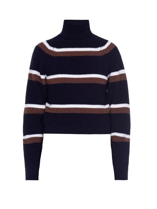 Marni - Roll-neck Intarsia-striped Ribbed-wool Sweater - Womens - Black Multi
