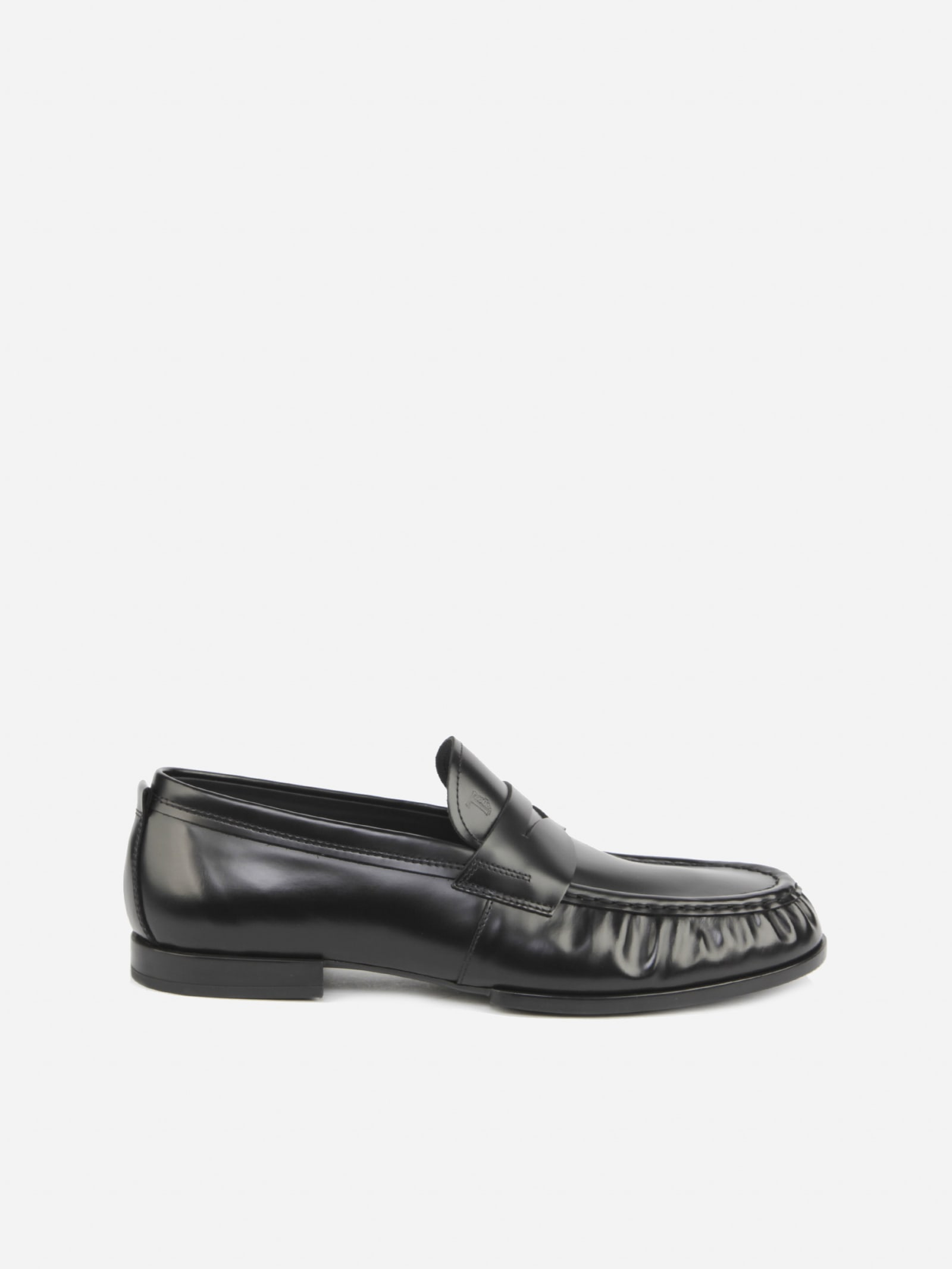 Tods Leather Loafers With Gathered Finish
