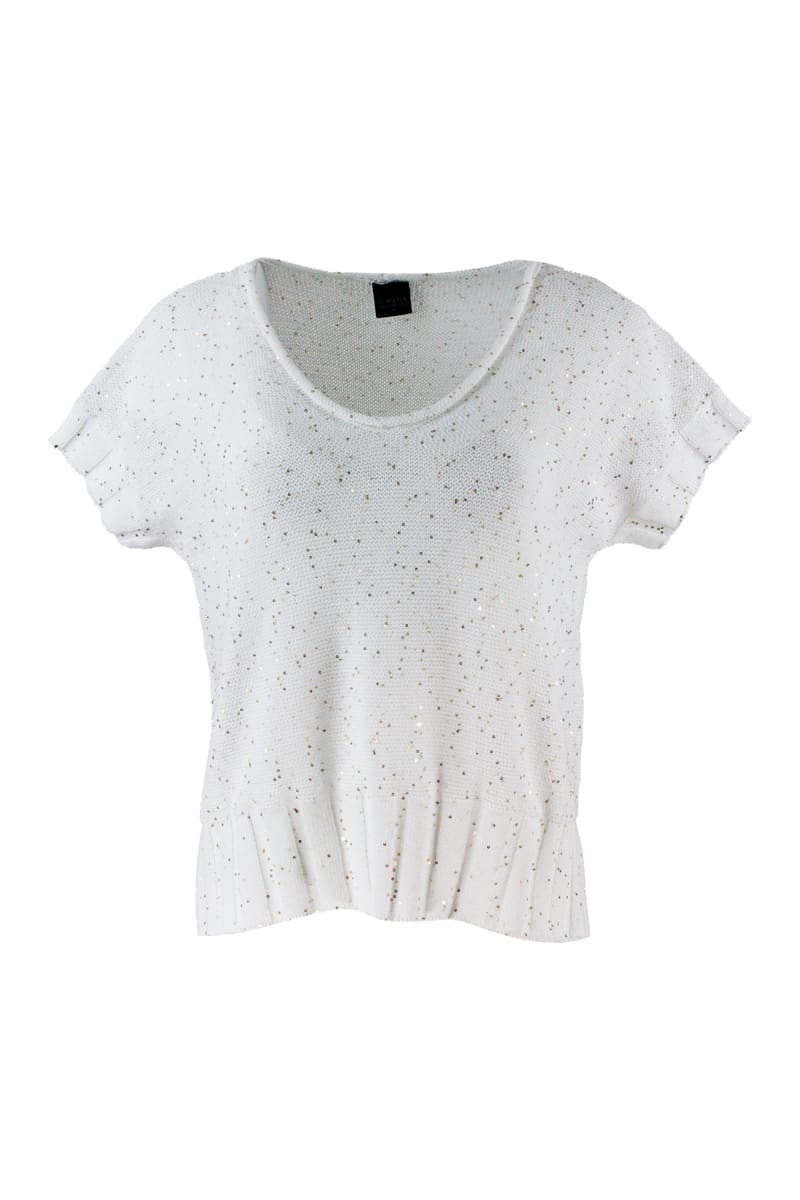 Lorena Antoniazzi V-neck Short Sleeve Sweater With Micro Sequins