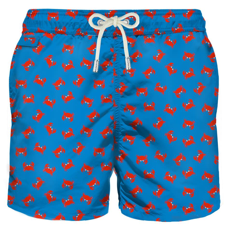 MC2 Saint Barth Red Crab Micro Print Light Fabric Swim Shorts