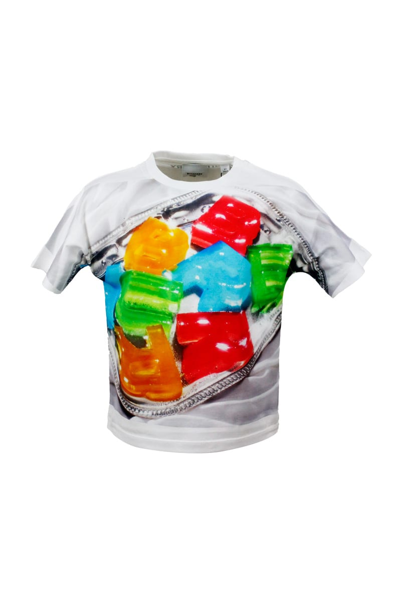 Burberry Short Sleeve Crewneck T-shirt With Sweets Print