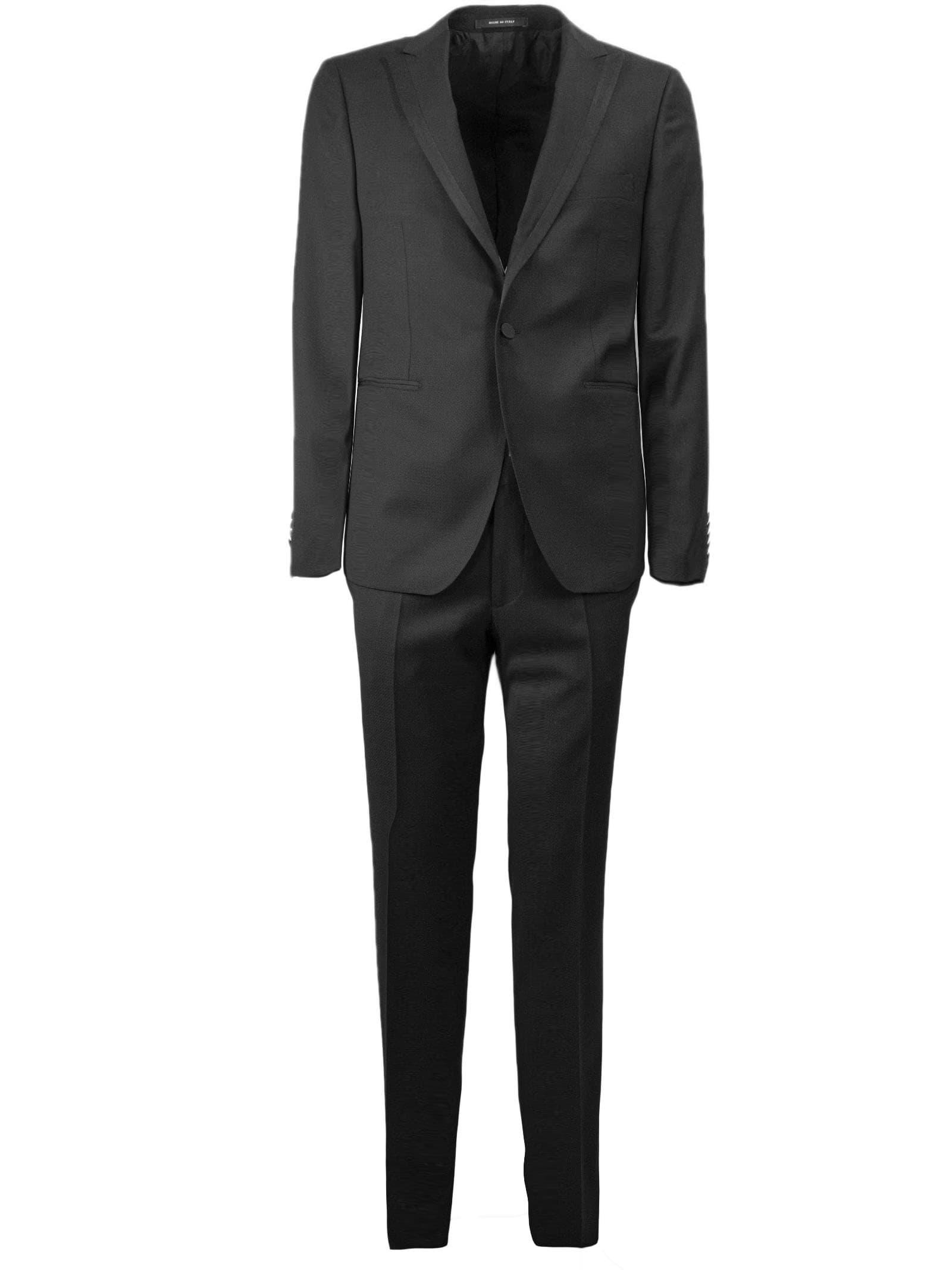Tagliatore Black Virgin Wool Two-piece Suit
