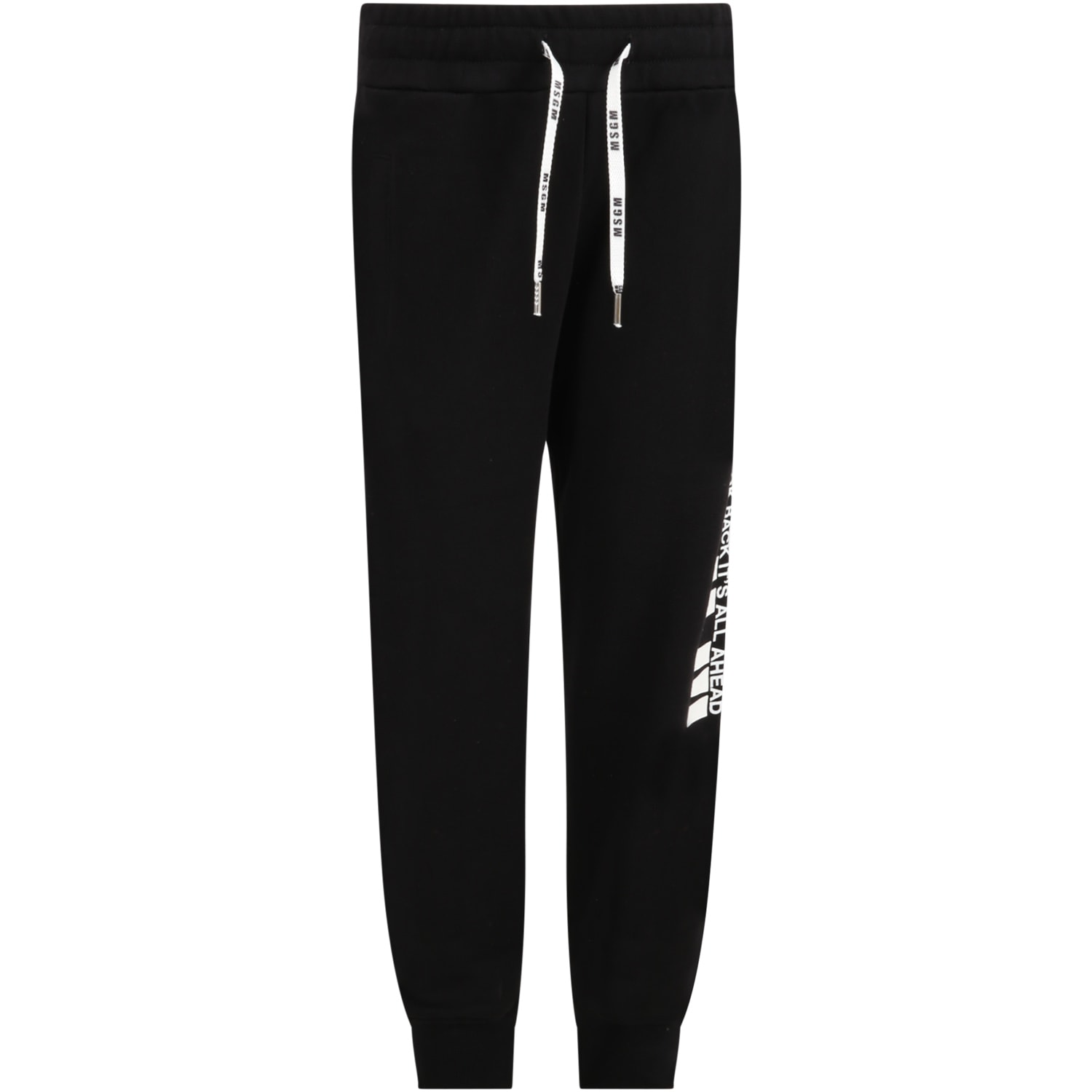 MSGM Black Sweatpants For Kids With Logo