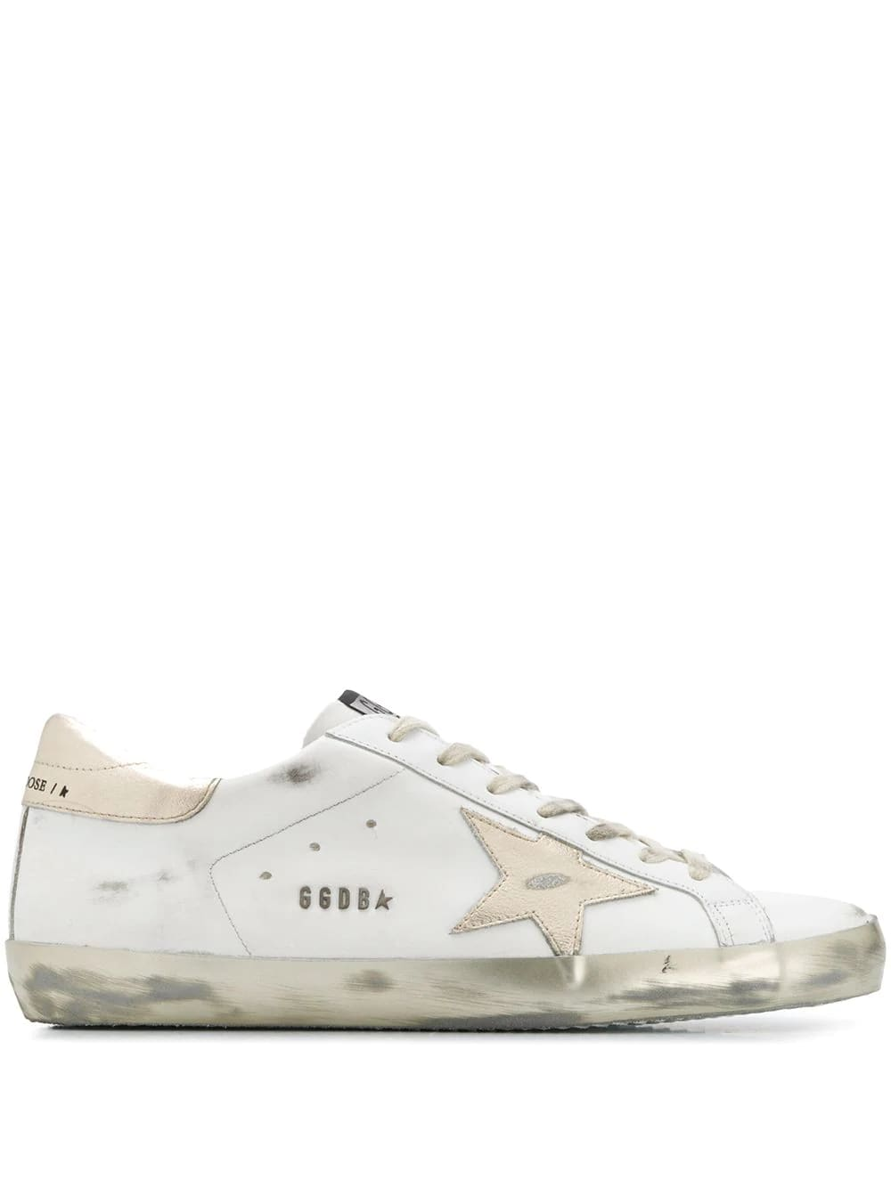 Golden Goose Man White Super-star Sneakers With Gold Laminated Spoiler And Star