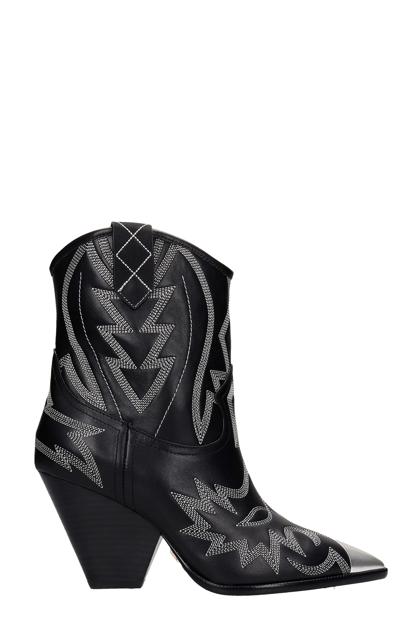 Lola Cruz Texan Ankle Boots In Black Leather