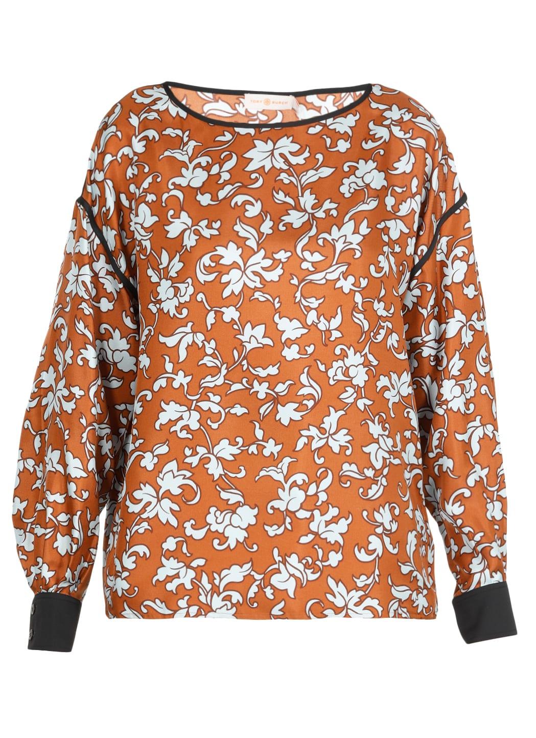 Tory Burch Floral Print Silk Blouse