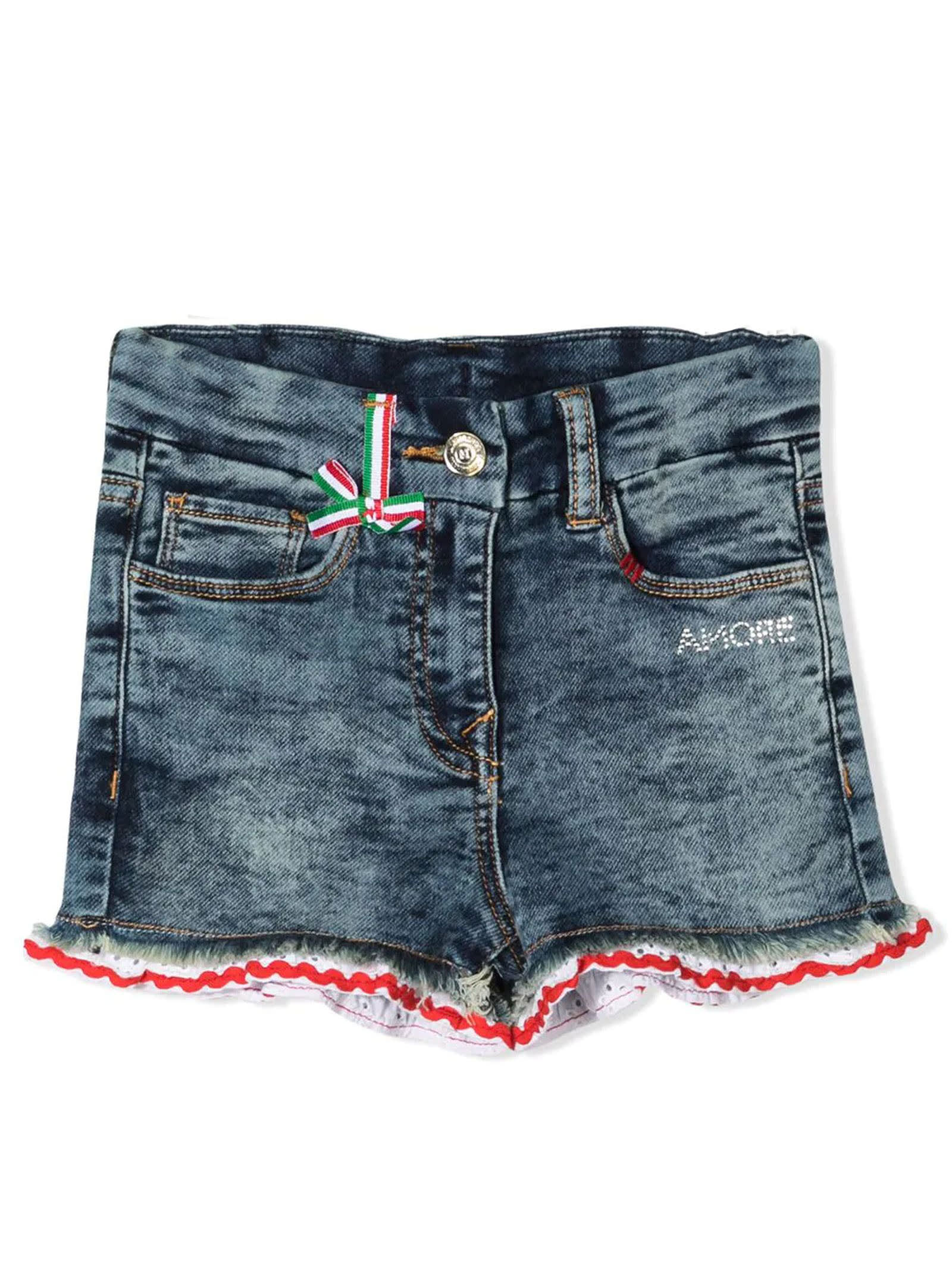 Monnalisa Blue Cotton-blend Denim Shorts
