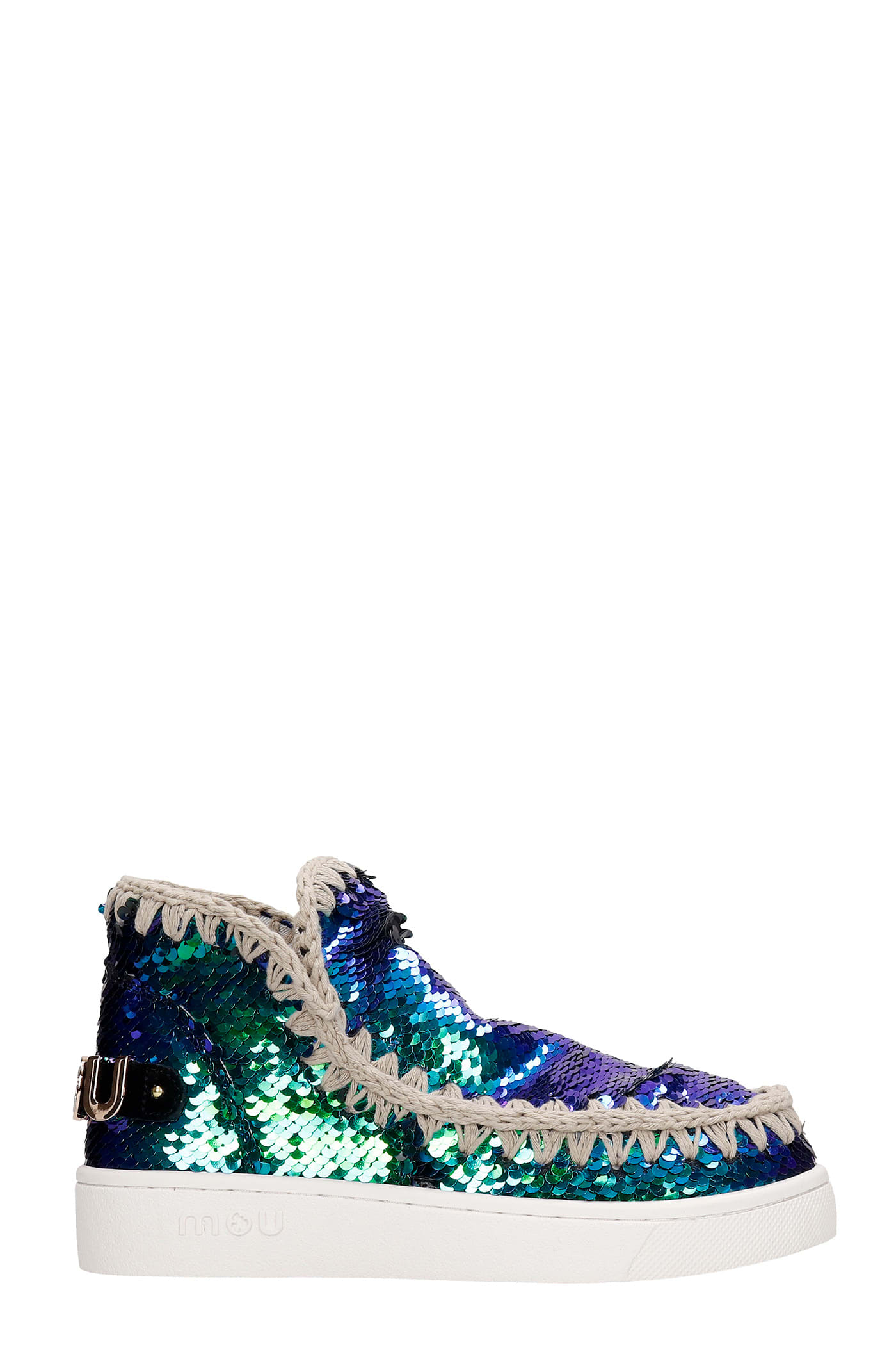 Mou Summer Eskimo Low Heels Ankle Boots In Green Synthetic Fibers
