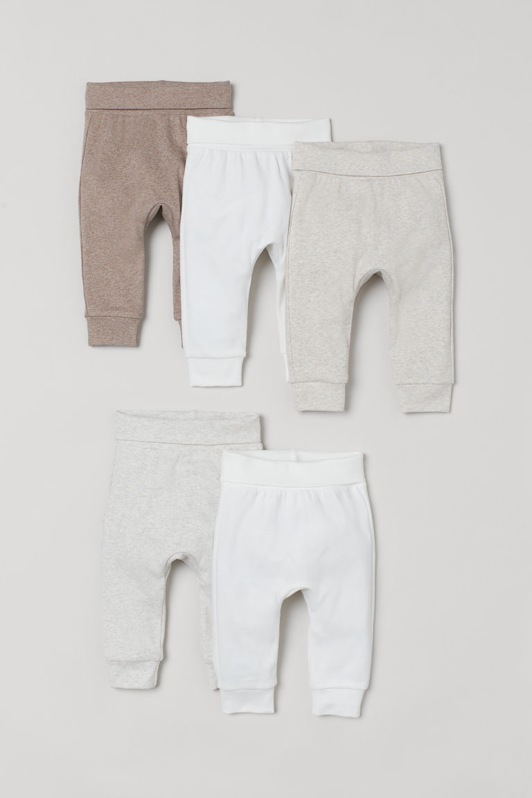 H & M - 5件入棉質長褲 - 米黃色