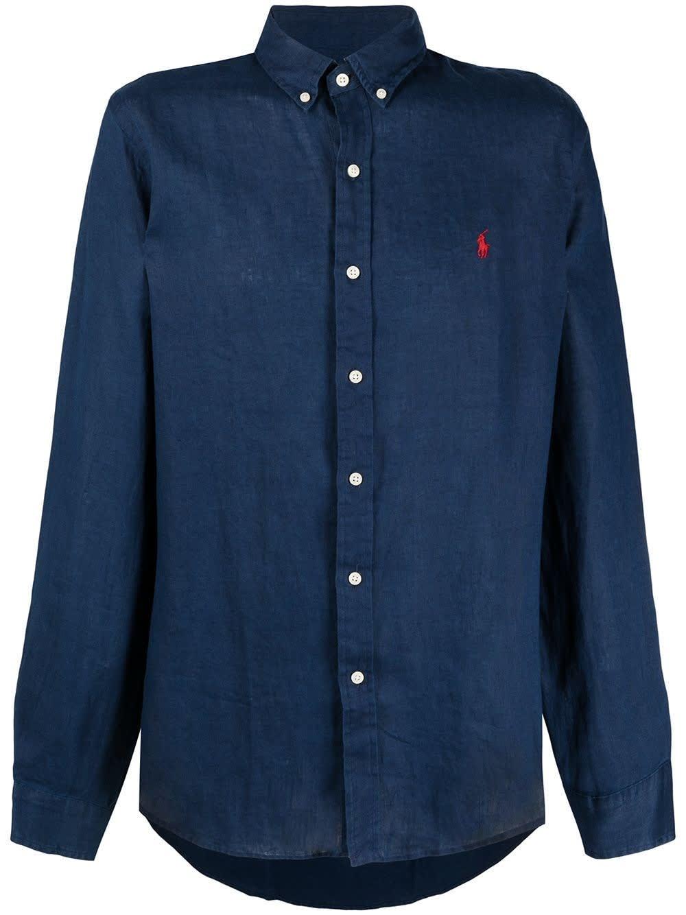 Ralph Lauren Blue Linen Shirt With Logo