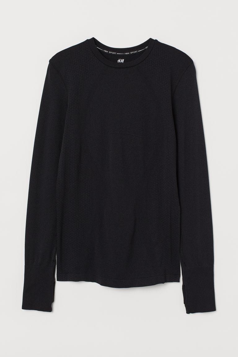 H & M - 無痕運動上衣 - 黑色