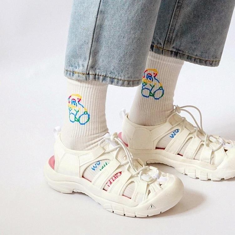 搖搖鞋 2021夏季新款運動涼鞋女大頭洞洞鞋沙灘鞋女厚底可愛搖搖底羅馬鞋 7號Fashion家居館