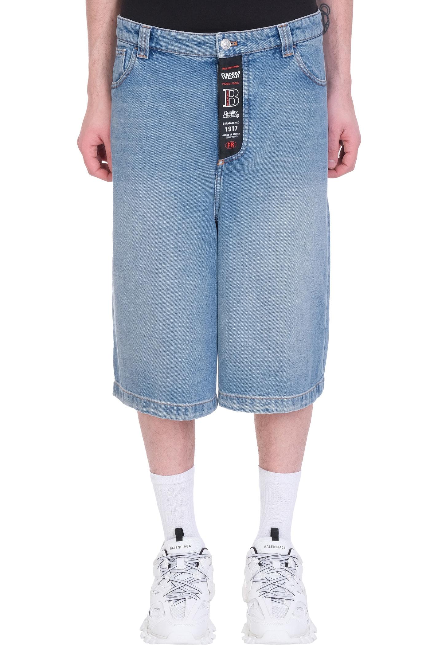 Balenciaga Shorts In Blue Denim