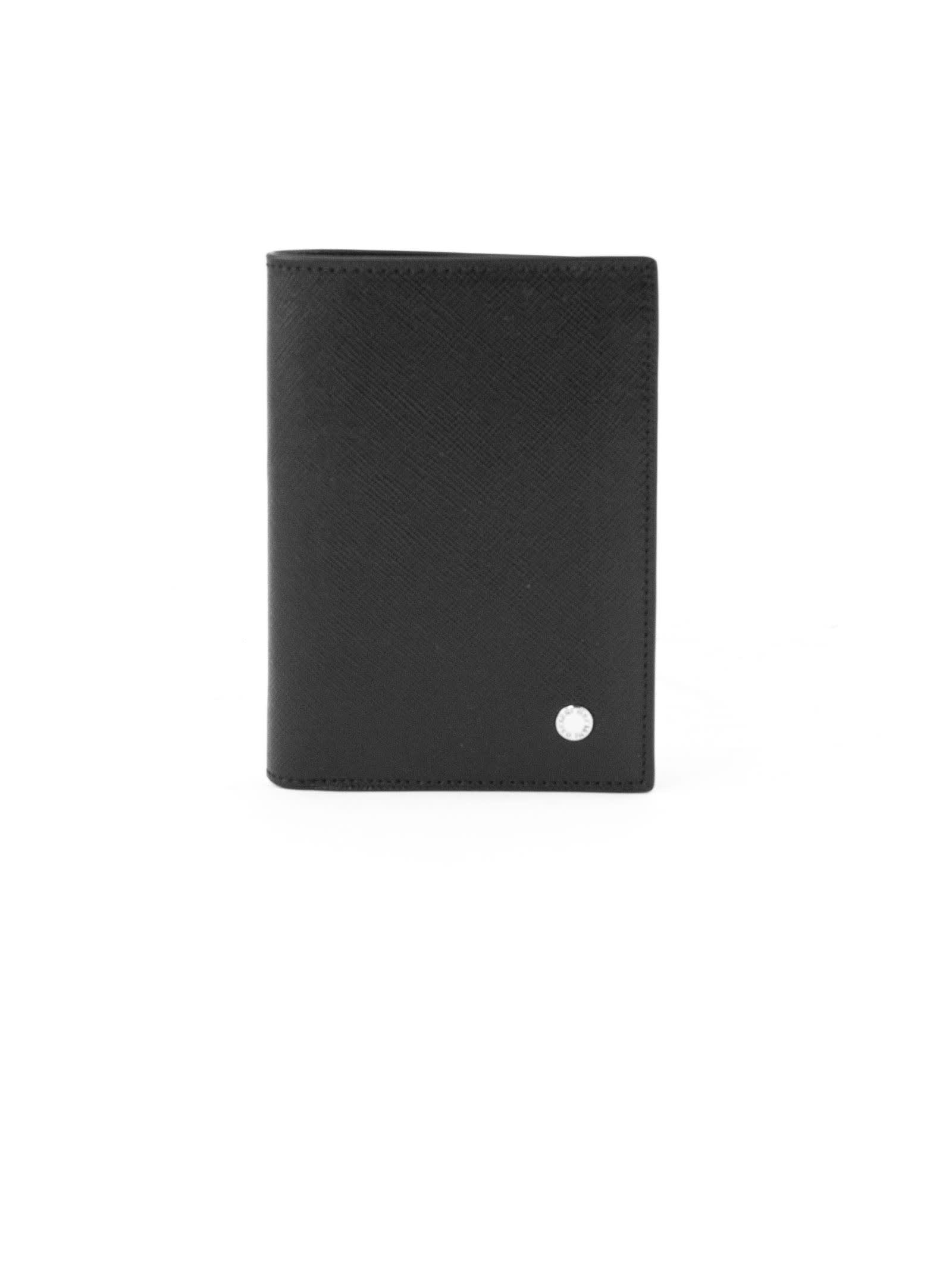 Orciani Black Leather Vertical Wallet