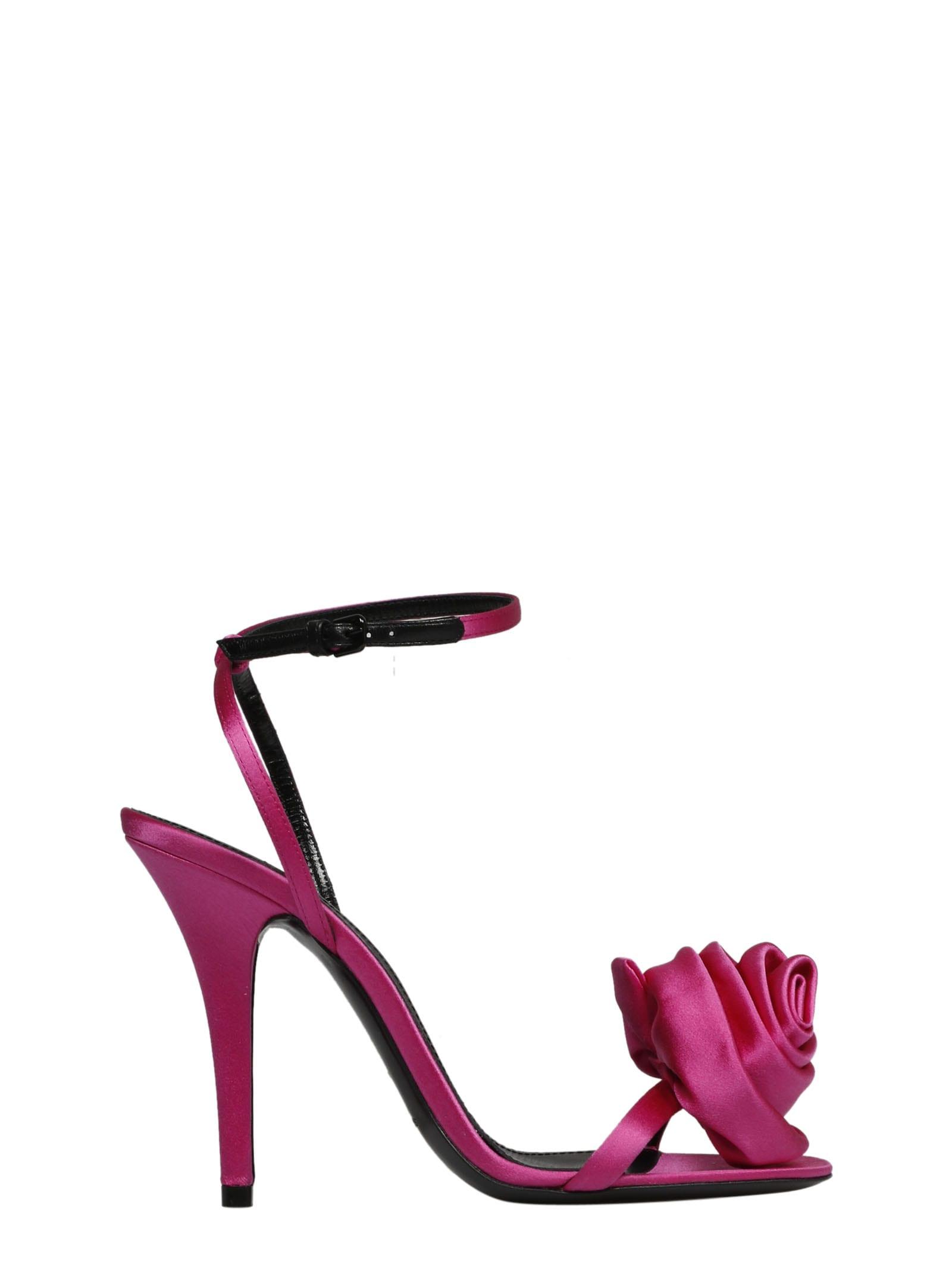 Saint Laurent Ivy Flower Sandals