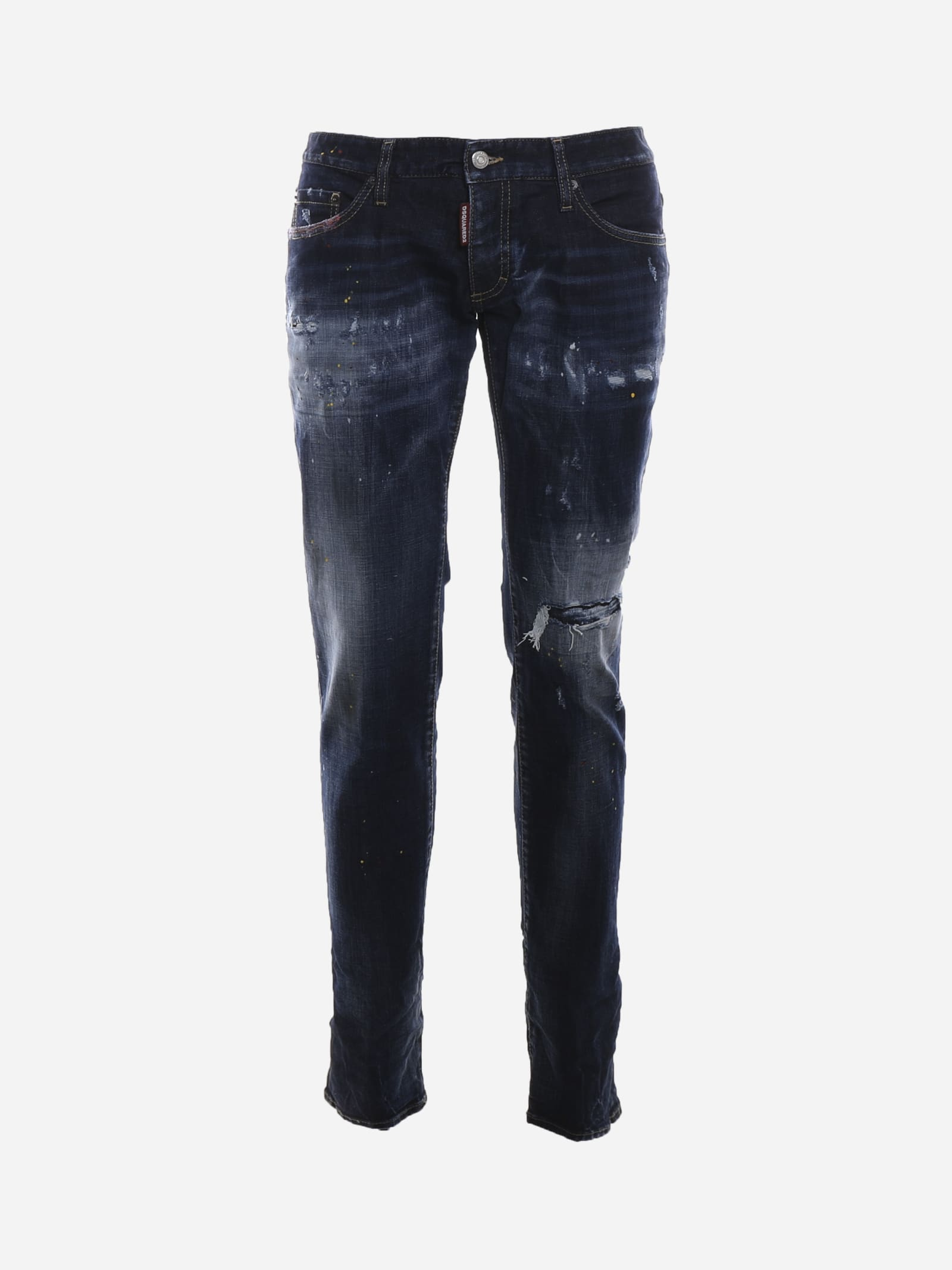 Dsquared2 Stretch Cotton Jeans With Rips