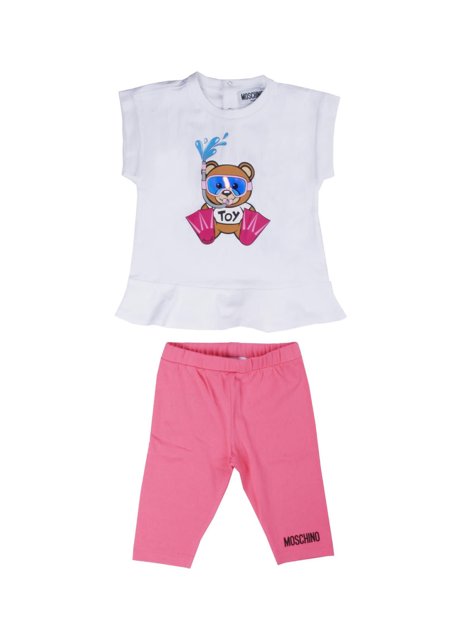 Moschino T Shirt + Leggings White / Camellia Rose