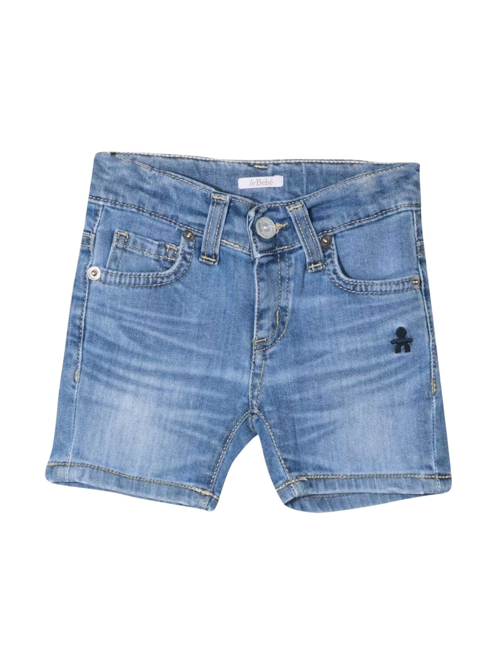 leBebé Denim Shorts With Embroidery