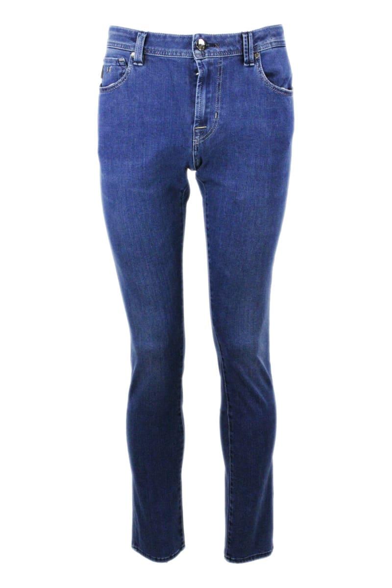 Sartoria Tramarossa Leonardo Slim Jeans In Bi-stretch Denim With 5 Pockets With Tailored And Initial