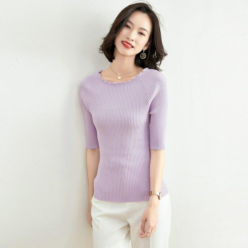 韓版圓領套頭薄款針織衫2021春夏季時尚女裝紫色中袖修身打底上衣