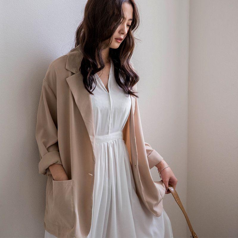 ★現折100★涼夏材質!單釦雙口袋雪紡西裝外套(共4色)0511 預購【NJ1270】