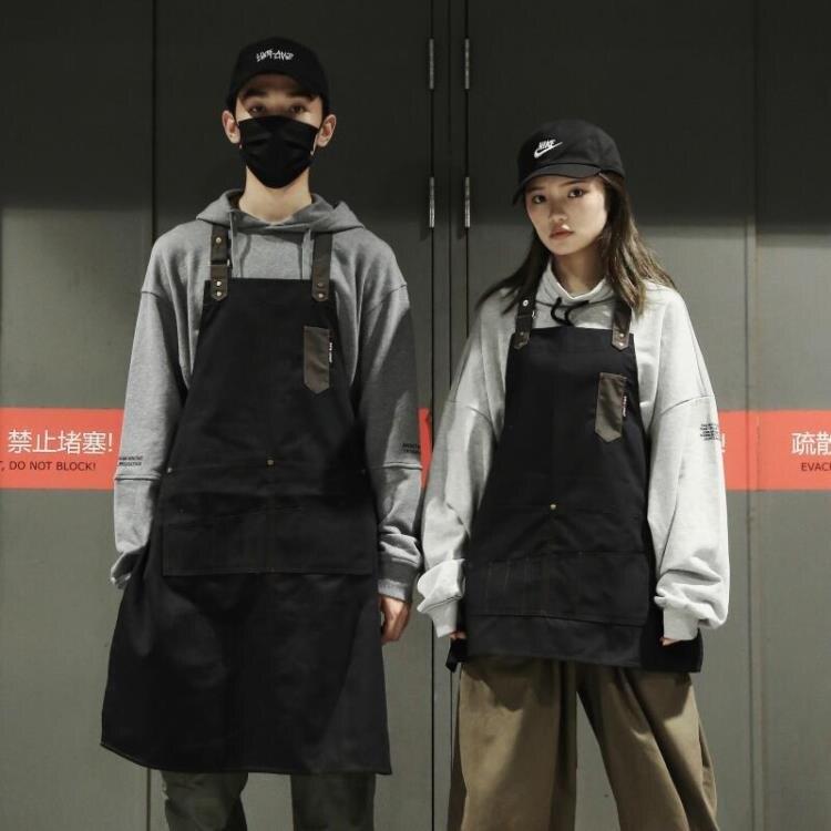 掛脖圍裙家用廚房防水長款工作圍裙定制logo印字男女服務員工作服