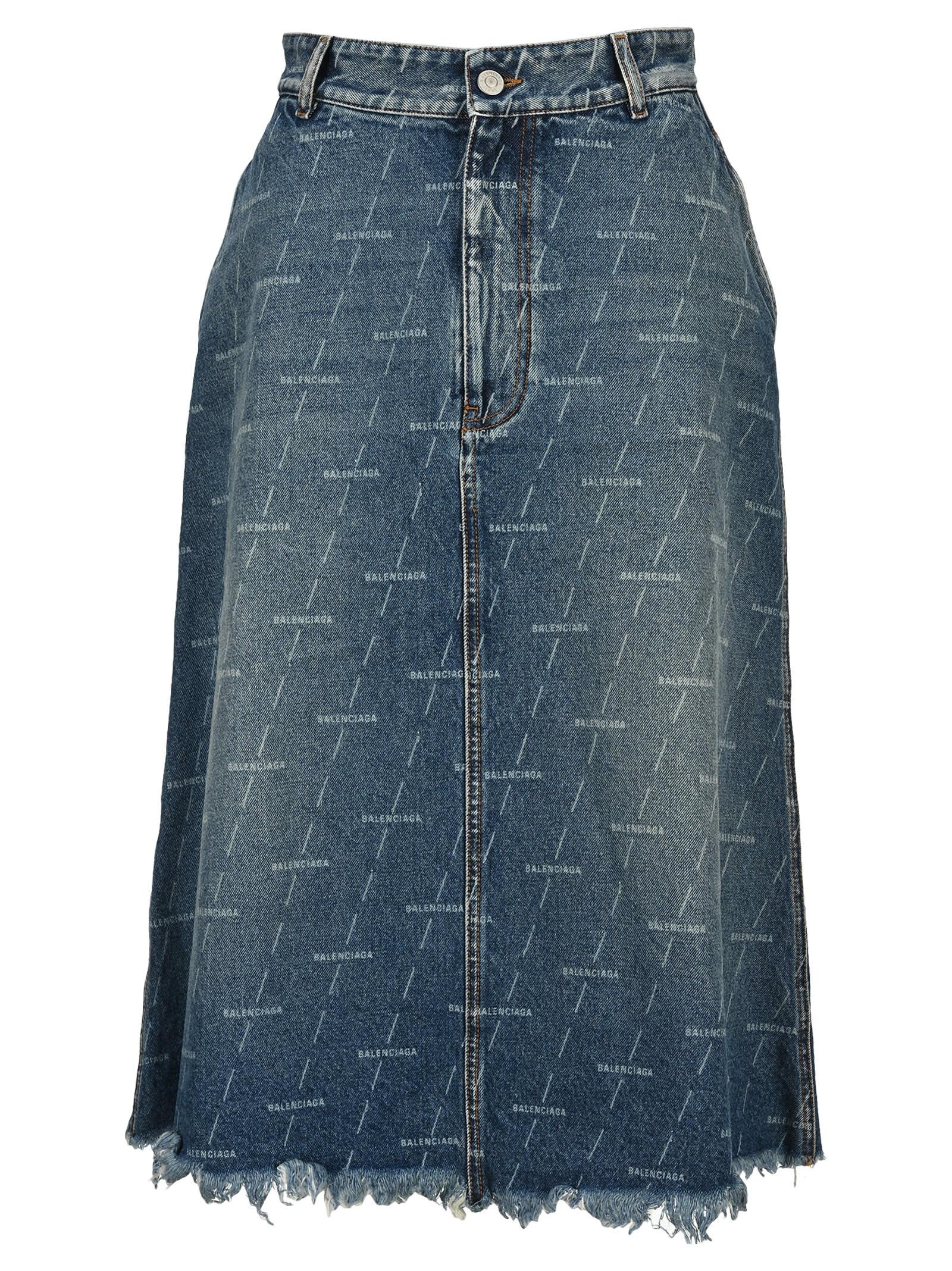 Balenciaga Logo Denim Skirt
