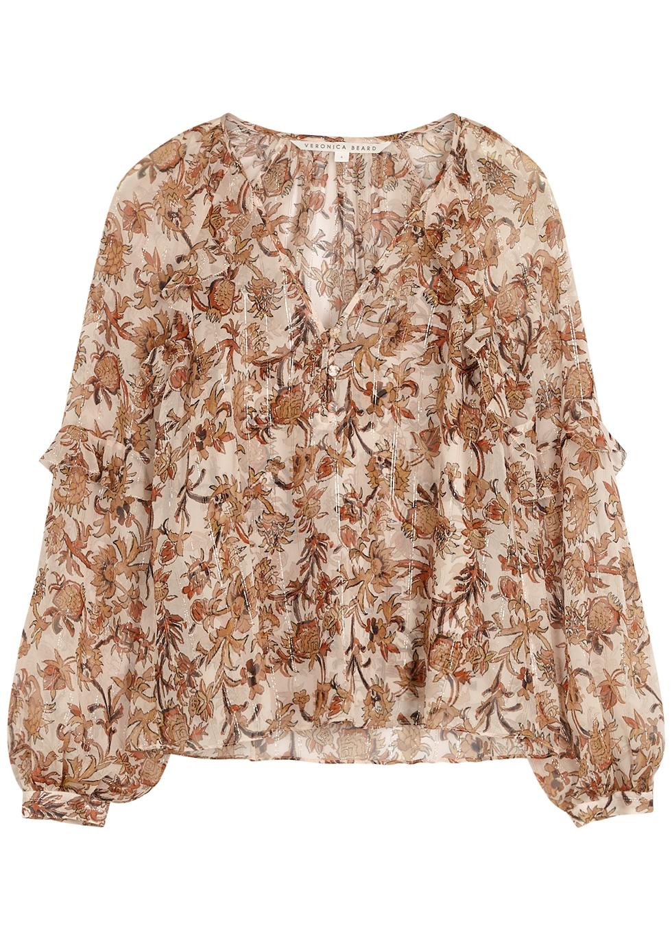 Zanita floral-print silk-chiffon blouse