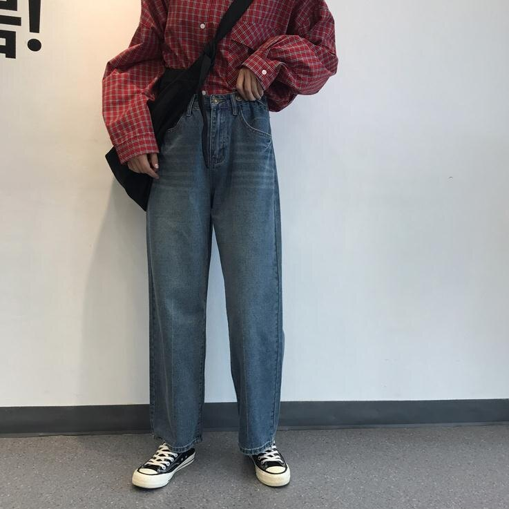 牛仔寬管褲 夏季韓版女裝寬鬆顯瘦闊腿褲高腰直筒牛仔褲復古百搭休閒學生長褲 7號Fashion家居館