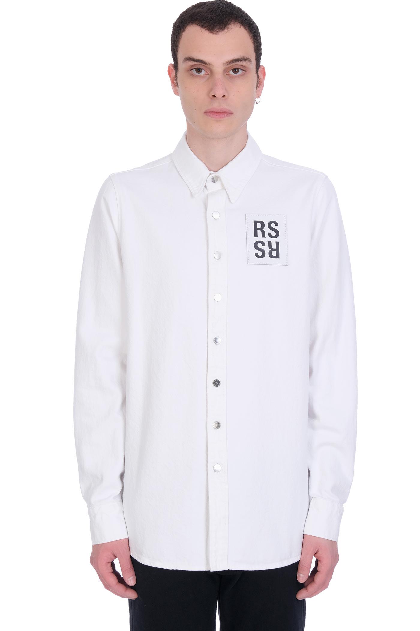 Raf Simons Shirt In White Denim