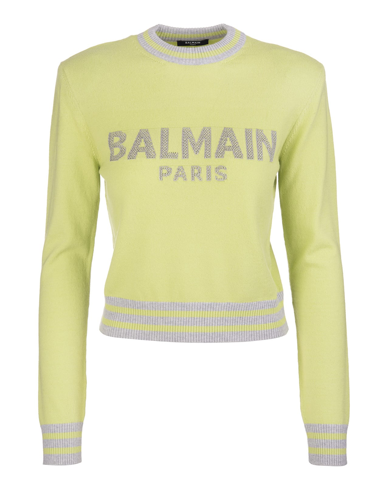 Balmain Lime Green Sweater With Silver Lurex Logo