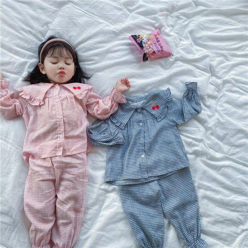 2021春秋新品女童寶寶小女孩格子家居服睡衣套裝棉幼兒園空調服潮