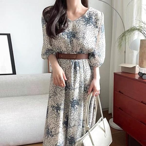 韓國chic夏季復古優雅花朵V領收腰五分泡泡袖連身裙7752#NE440.1號公館