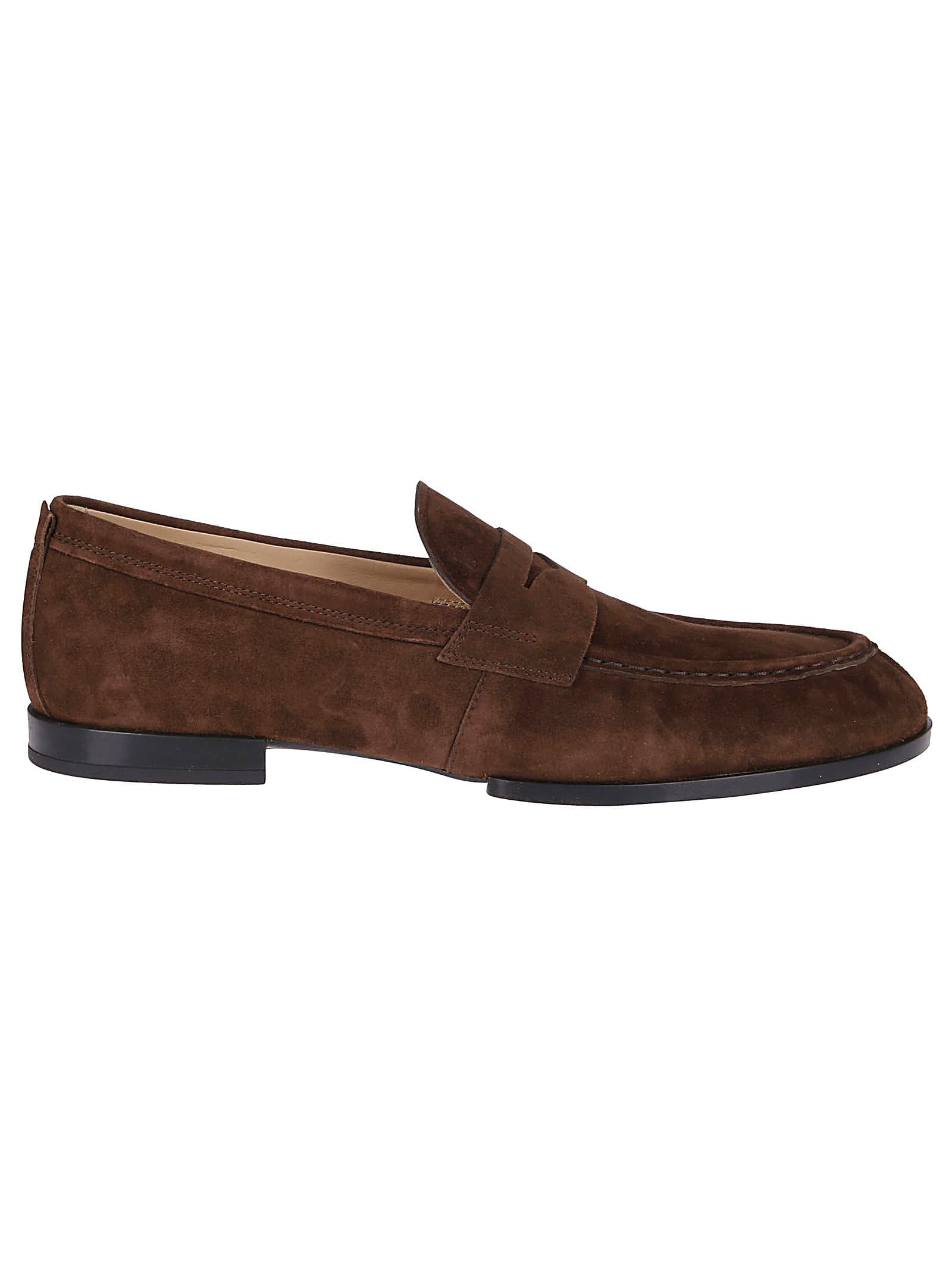 Tods Brown Suede Penny Loafers