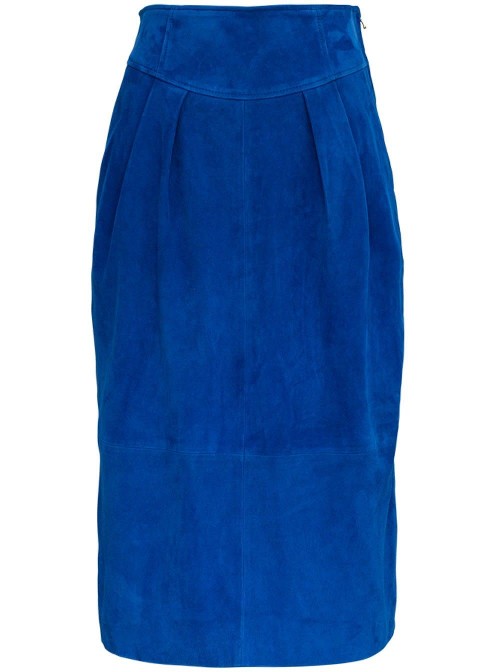 Alberta Ferretti Long Blue Suede Skirt
