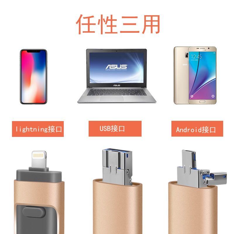 高速3.0大容量512GB優盤安卓蘋果手機電腦三合一金屬定制u盤1TB