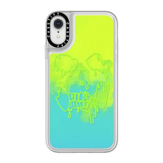 CASETiFY iPhone XR Neon Sand Liquid Case - MELTING SKULL - NEON GREEN