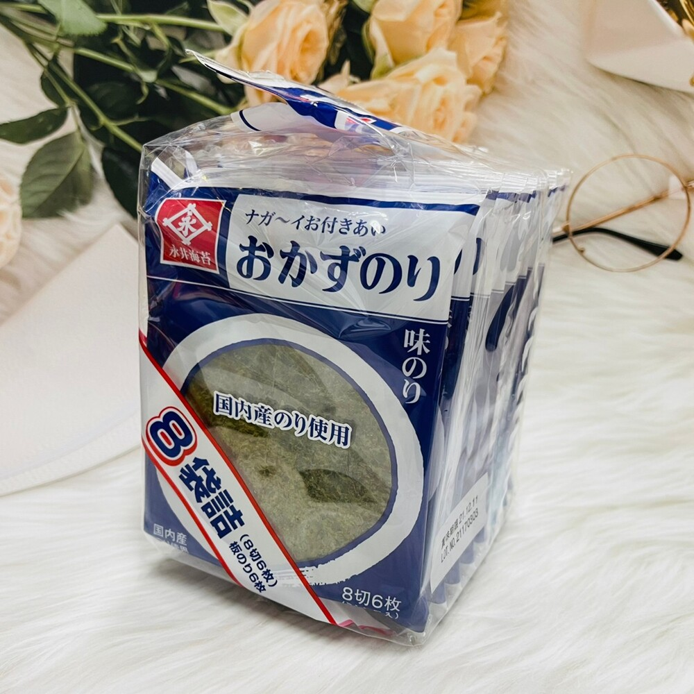 潼漾小舖 日本 永井 永井海苔 味付海苔片 8入袋