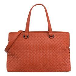 BOTTEGA VENETA 598198 手工編織小羊皮兩用包.橘