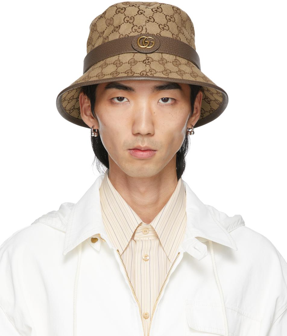 Gucci 驼色 GG 宽檐帽
