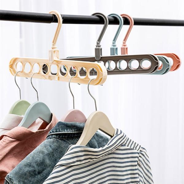 魔術多功能省空間曬衣架 室內衣櫃室外衣架 優質塑料收納衣架 (顏色隨機出貨)